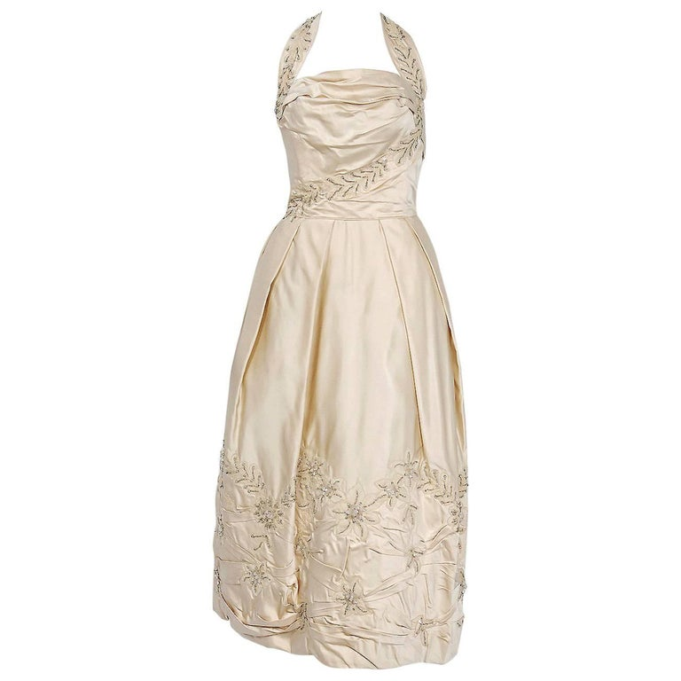 1950's Ceil Chapman Ivory Beaded Floral Applique Silk Satin Halter Party Dress   For Sale