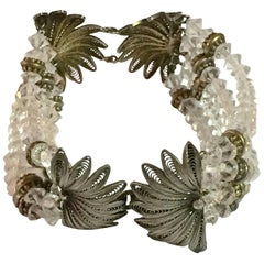4 Strand Vermeil Filigree French Cut Crystal Bead Bracelet
