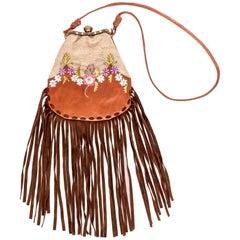 Valentino Leather Lace Floral Enamel Fringe Shoulder Bag