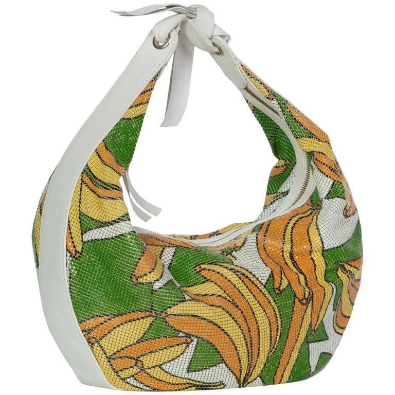 2004 Chloè Phoebe Philo Banana Print Chain Mail Leather Shoulder Bag