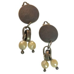 Martha Sturdy Vancouver Gunmetal and Baroque Pearl Chain Clip On Drop Earrings