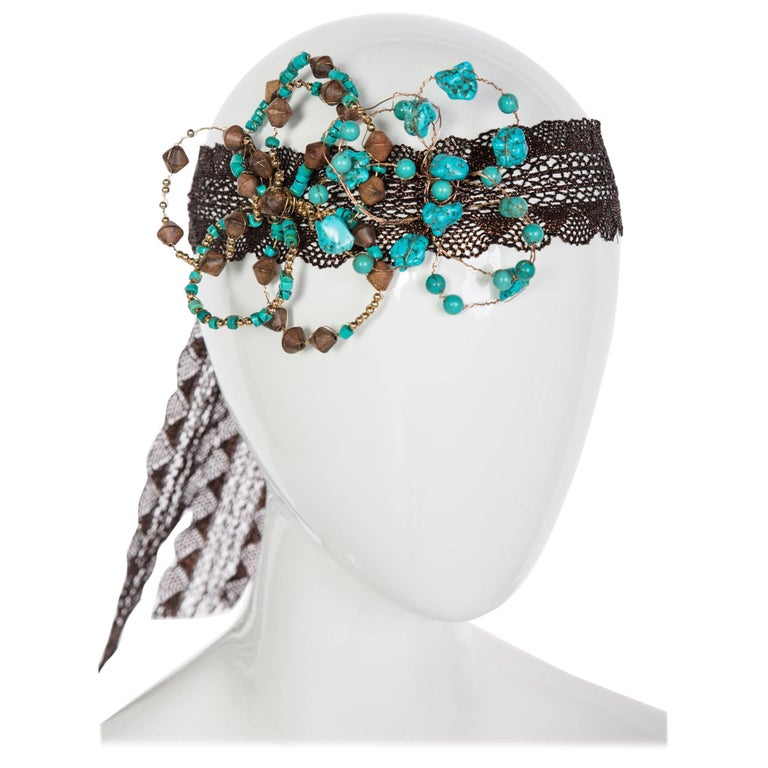 Basha Gold Couture Turquoise Wood Beaded Metal Flower Copper Lace Headpiece