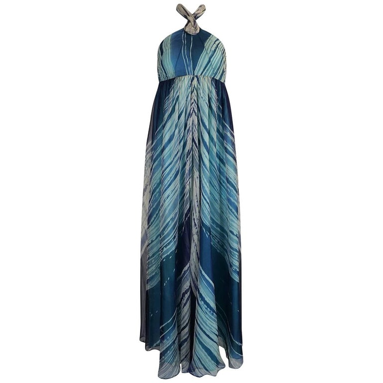 c.1974 Thea Porter Couture Documented 'Wave' Print Silk Chiffon Dress For Sale