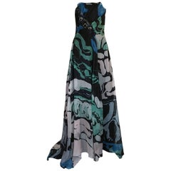 1990s Christian Lacroix Blue Strapless Dress & Shawl w Applique