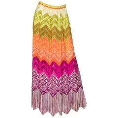 Lanvin Silk Rainbow Multicolor Print Fringe Maxi Skirt, 1970s
