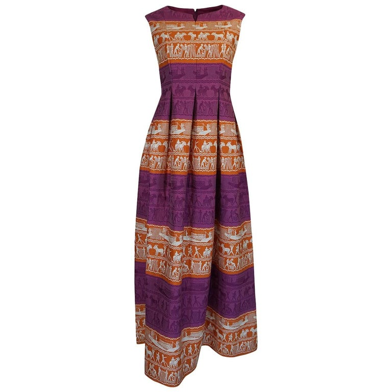 Richard Tam Jon Mandl Unusual Brocade Print Dress, 1960s