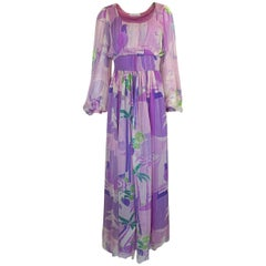Stavropoulos Pastel Floral Print Silk Chiffon Dress, 1970s