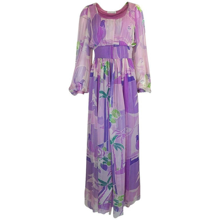 Stavropoulos Pastel Floral Print Silk Chiffon Dress, 1970s
