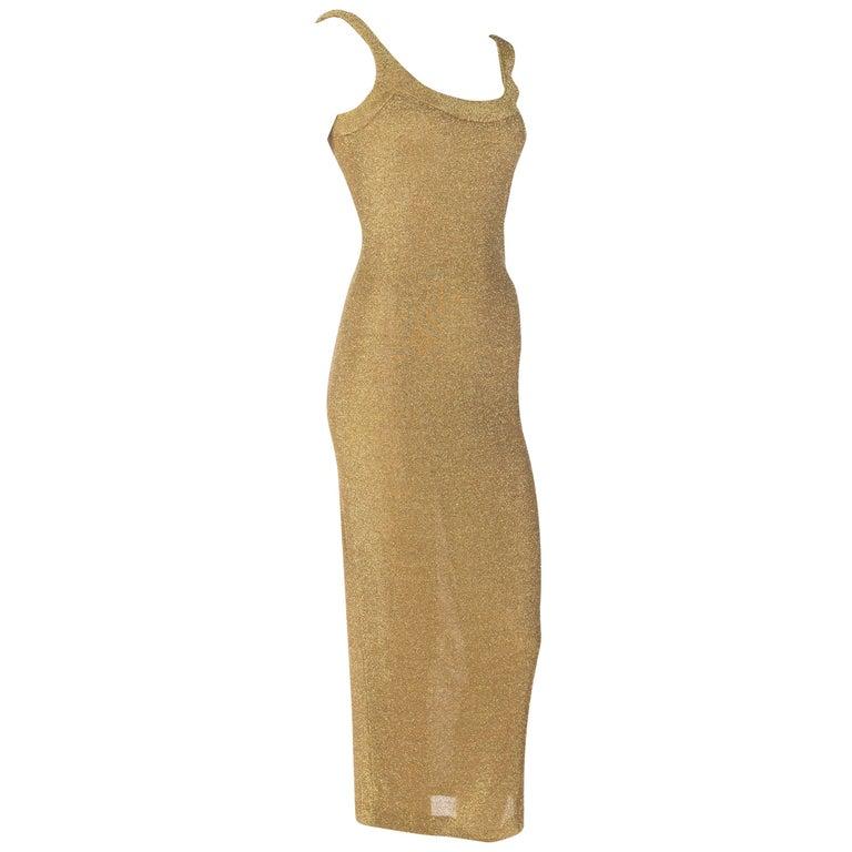 Bruce Oldfield Gold Knit Bodycon Sparkle Disco 90s Dress