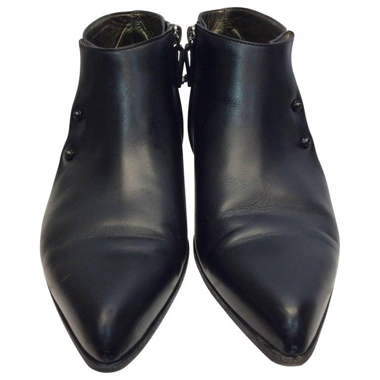 Lanvin Black Short Ankle Leather Boots
