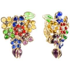 Gripoix Glamour Flowers Bouquet Clip Earrings