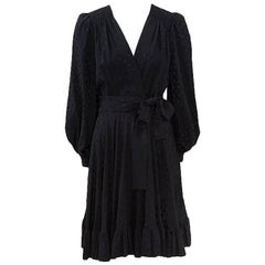 Yves Saint Laurent Silk Jacquard Ruffle Dress, Circa 1978