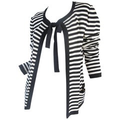Ungaro navy and cream striped cardigan with tie