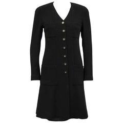 Autumn 1994 Chanel Black Wool Coat Dress and Skirt Ensemble
