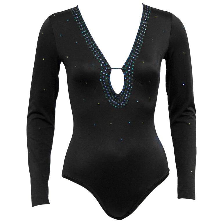 1970s Giorgio Di Sant'Angelo Black Embellished Bodysuit