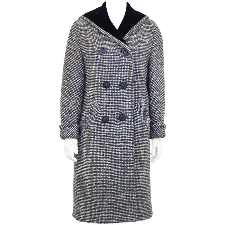 1960s Black and White Tweed Long Coat with Velvet Collar