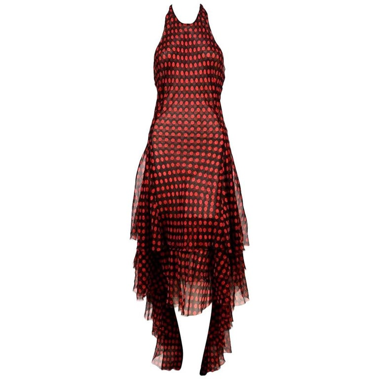2003 ALEXANDER MCQUEEN black tiered gown with red polka dots