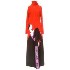 1970s Japanese Inspired Graphic Print Lounge Gown for Saks Fifth Avenue