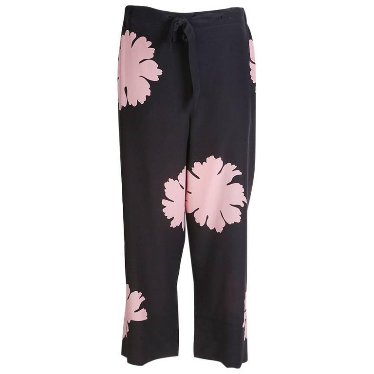 Alexander McQueen Cropped Silk Pants with Large Scale Floral Print