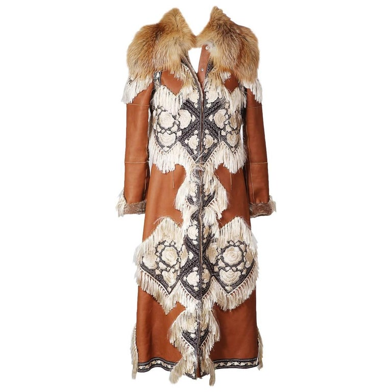 Tan Leather Coat with Embroidery, Fringe, and Fur Collar, Fall 2016