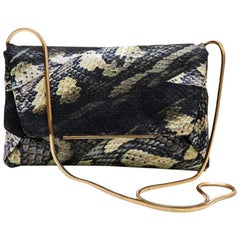 LANVIN Clutch in Multicolored Shiny Fabric with Python Print
