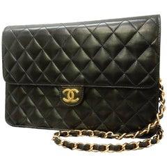 Chanel Black Quilted Lambskin Leather Flap Shoulder Bag