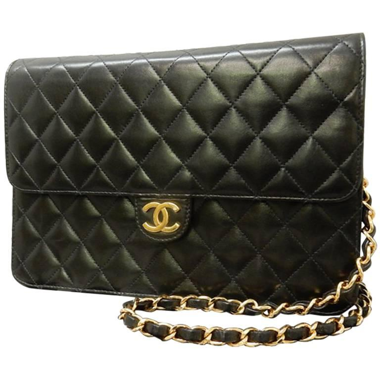 Chanel Black Quilted Lambskin Leather Flap Shoulder Bag For Sale