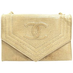 Chanel Ivory and Beige Lizard Leather Flap with Gold Chain Strap Shoulder Bag