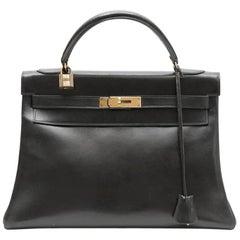 HERMES Vintage Kelly 32 bag in Black Box Leather