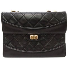 Chanel Black Quilted Matelasse Lamb Leather Flap Chain Shoulder bag
