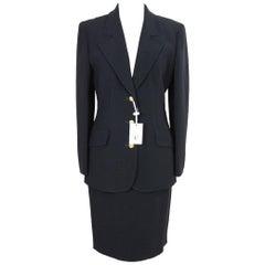 Valentino Classic Complete Black Viscose Italian Skirt Suit, 1990s