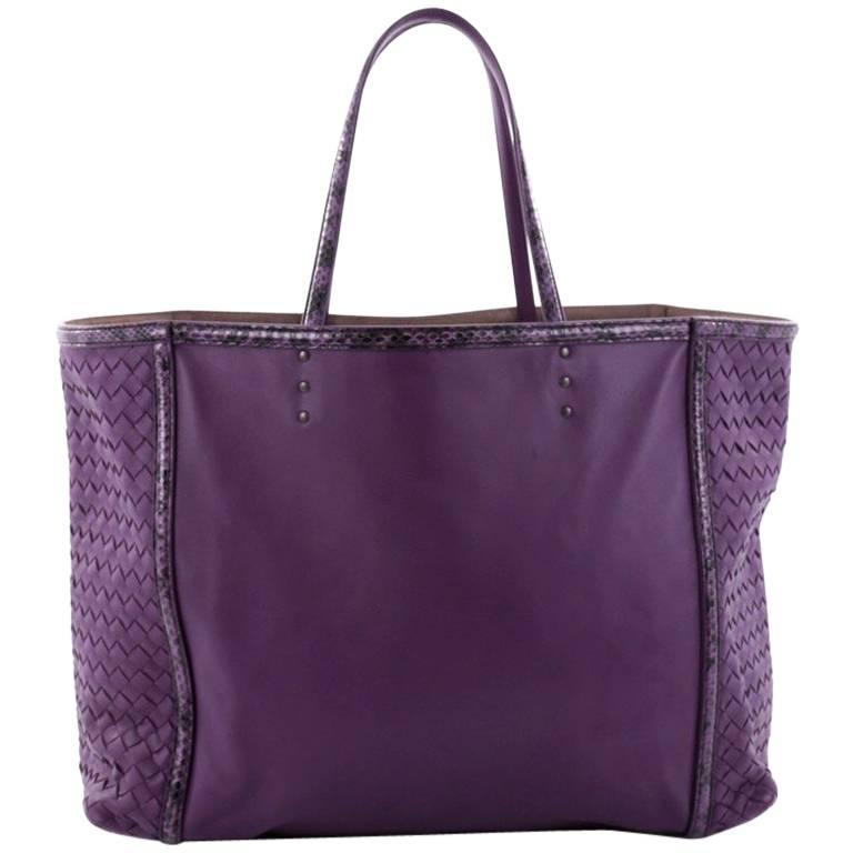 Bottega Veneta Shopping Tote Leather with Intrecciato Detail Large