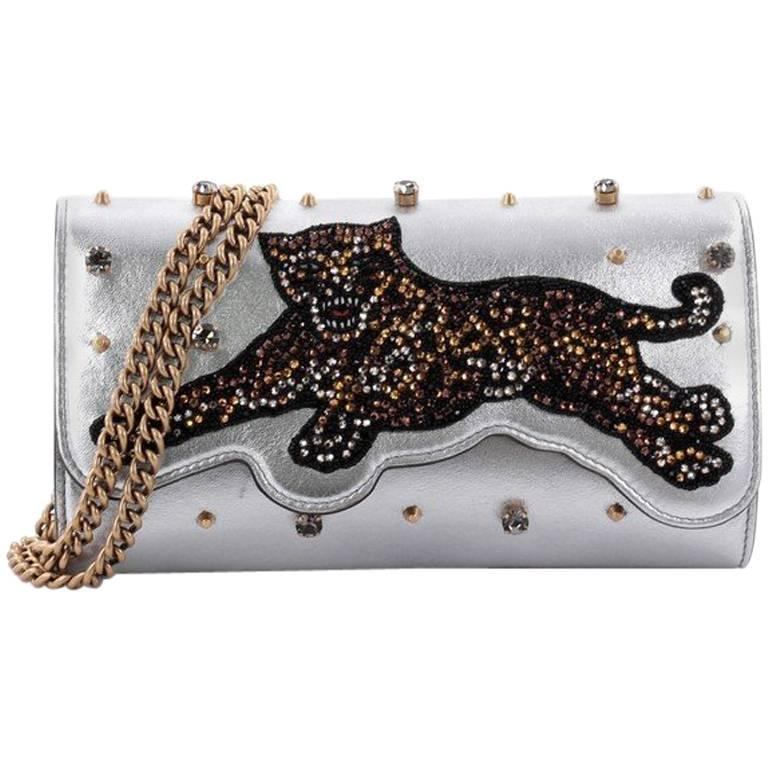 Gucci Broadway Tiger Chain Clutch Embellished Leather Mini at 1stdibs 9d1d7cd5b89e3
