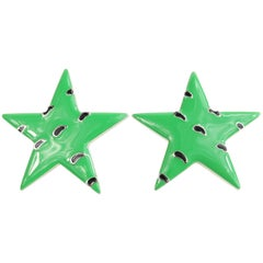 Escada Green Star Shape with Black and Silver Dots Clip On Earrings