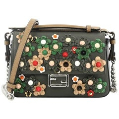Fendi Double Baguette Flower Studded Leather Micro