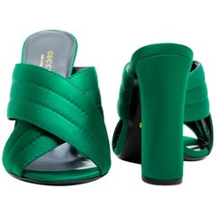 GUCCI High Heels Sandals in Green Satin Size 39.5EU