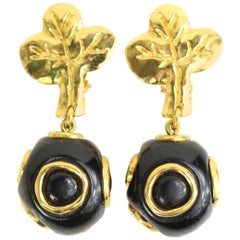 Christian Lacroix Black and Gold-Toned Hardware Clover Clip On Earrings