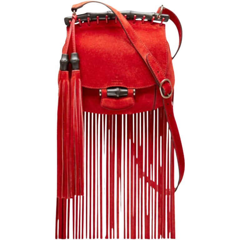 2014 Gucci Small Fringes Shoulder Bag Suede Red Leather / Good Condition