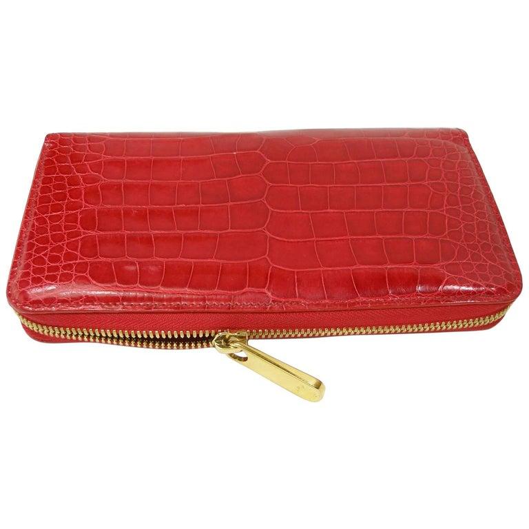 d4482215759b Circa 2010 s Rare Louis Vuitton Wallet or Clutch Zippy Red Alligator Wallet  For Sale