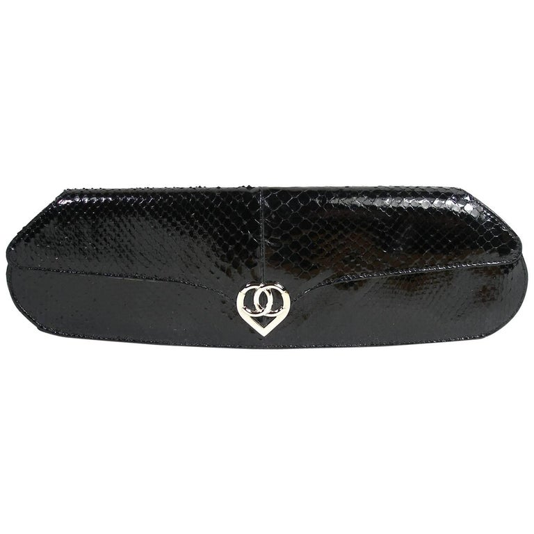 Rare Runway Model Chanel Black Python and CC logo clasp Evening Clutch Art Déco