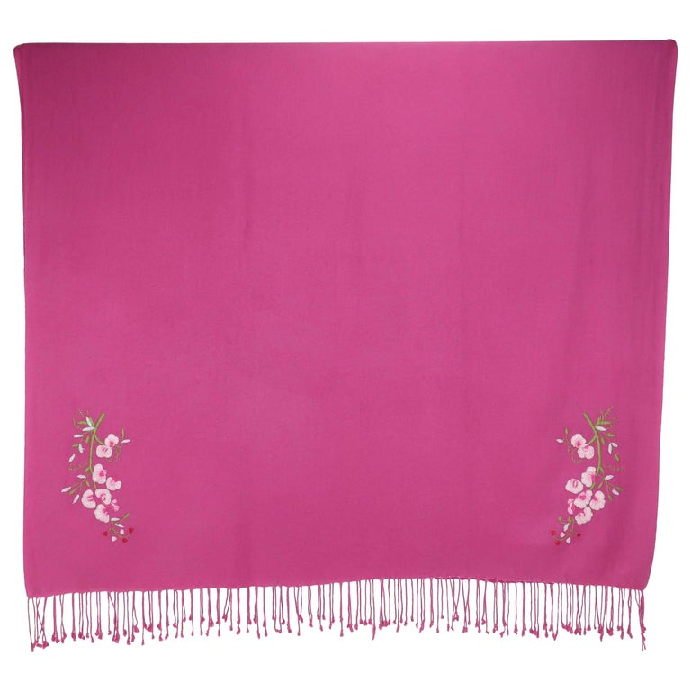 Large Hot Pink Wool Scarf Shawl With Cherry Blossoms