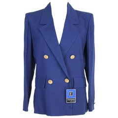 NWT Yves Saint Laurent viscose blue jacket size 42 it made france 1990s