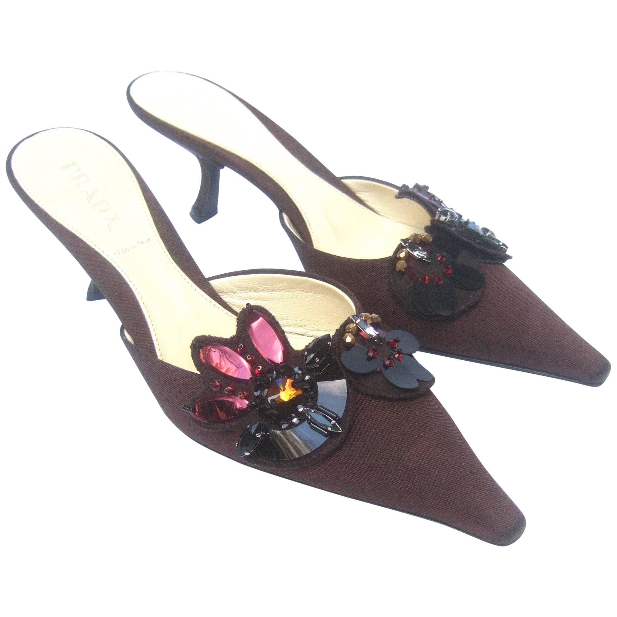 Prada Italy Chocolate Brown Jeweled Satin Mules in Box Size 37