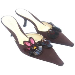 Prada Italy Chocolate Brown Jeweled Satin Mules in Box Size 37