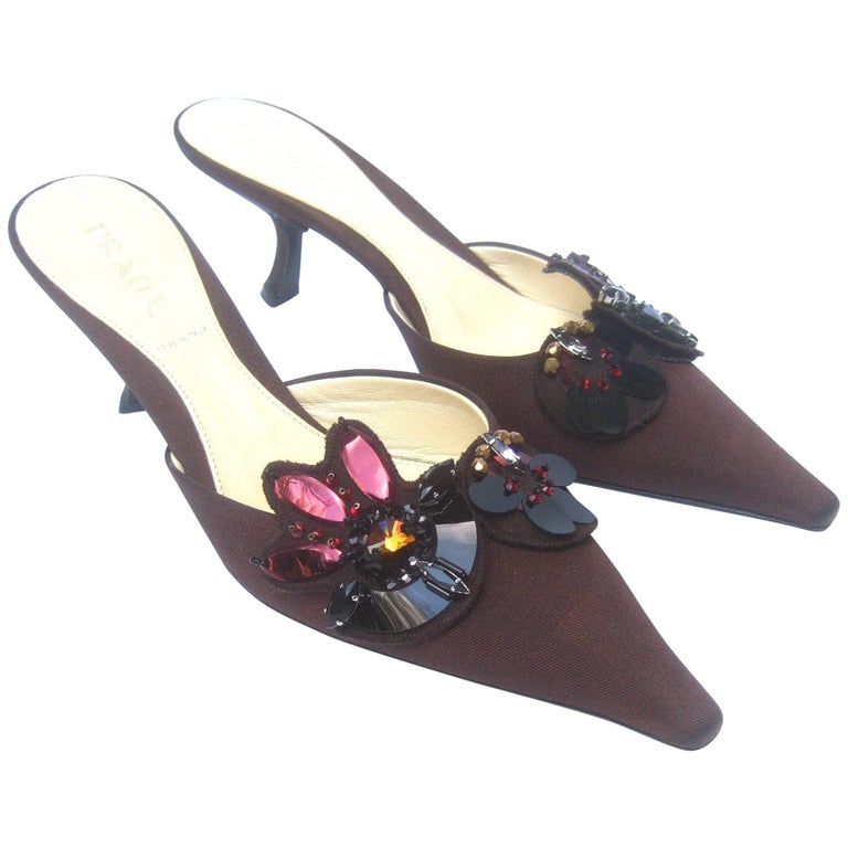9ce1a6b667a0f Prada Italy Chocolate Brown Jeweled Satin Mules in Box Size 37 For Sale