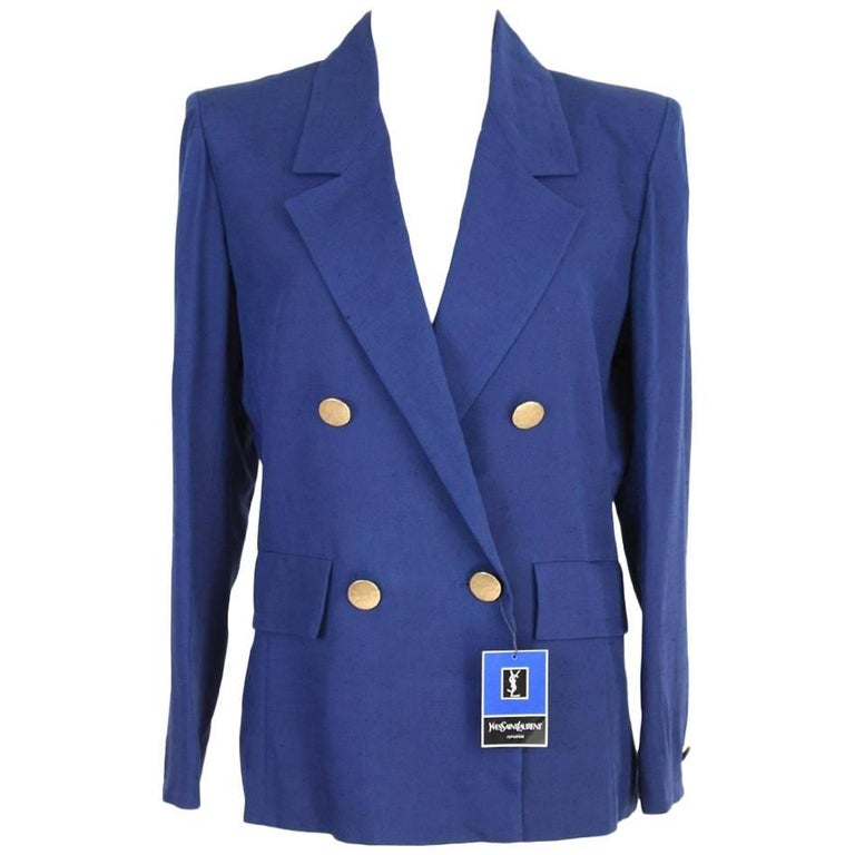 NWT Yves Saint Laurent viscose blue jacket size 44 it made france 1990s