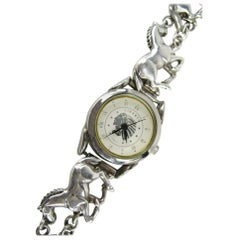 1980s Carol Felley Galloping Horse Sterling Silver Watch