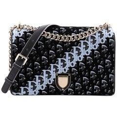 Christian Dior Diorama Flap Bag Oblique Embroidered Fabric Medium