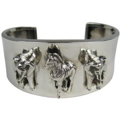 1990s Carol Felley Safari Sterling Silver Bracelet Cuff