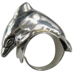 1988 Carol Felley Sterling Silver jumping Dolphin Ring